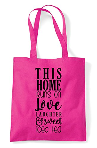 Bag Statement This Shopper Tea Love And Runs On Home Sweet Tote Fuschia 1Rxf1OHq