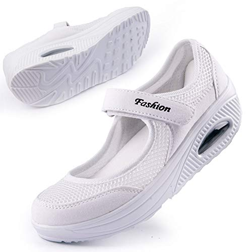 - Women's Comfortable Working Nurse Shoes Non-Slip Adjustable Breathable Walking Sneaker Fitness Casual Nursing Shape Shoes Mary Jane Sneaker39 White