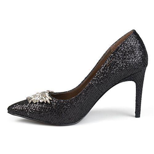 Journee Collection Womens Bout Pointu Bijou Glitter Talons Noir