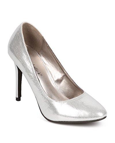 Classic Metallic Pumps (Breckelle's EA41 Women Metallic Fabric Almond Toe Classic Stiletto Pump - Silver (Size: 7.5))
