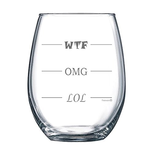 Fineware LOL-OMG-WTF 15 oz Stemless Funny Wine Glass - Finally a Wine Glass for Every Mood! -