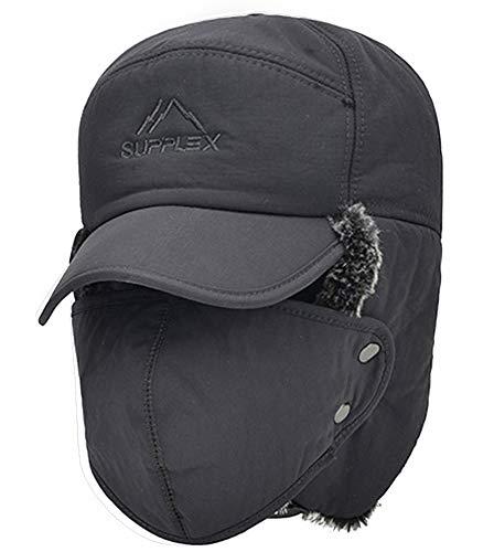 3 in 1 termica pelliccia foderato con pelliccia cappello con paraorecchie  maschera intera scaldacollo antivento Snowproof 94b415d39827