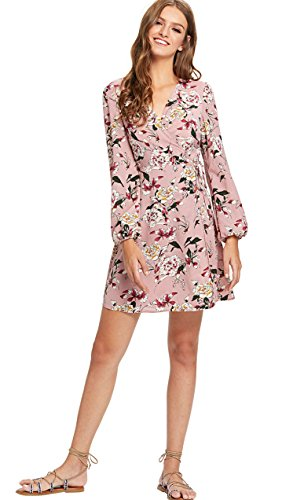 Milumia Women's Vintage Floral Print Boho Split Wrap Slim Dress Large Multicolor-4
