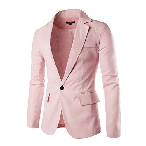 Jacket Sports Coat Blazer Slim Fit Casual Suit Coat One Button Business Lapel Suit Stylish Wedding Party Outwear Coat Suit Tops Men's (XXL,13#Pink)]()
