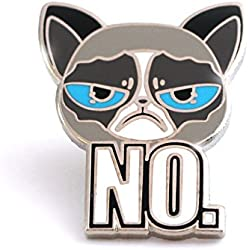 Cat Enamel Pin of unsatisfied kittie, angry cat lapel pin