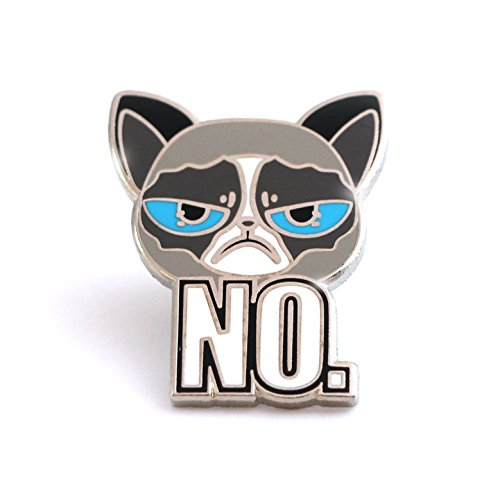 Exceptional Cat Enamel Pin Of Unsatisfied Kittie, Angry Cat Lapel Pin