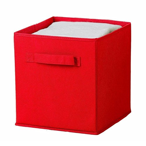 Uworld Single Handle Nonwoven Storage Bins,Foldable Cube Organizers Basket Without Cover (Red)