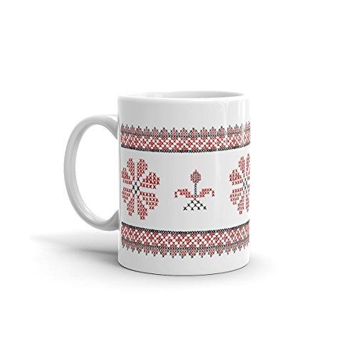 Palestine Embroidery Mug, Tatreez Mugs, Palestinian Tatreez, Coffee Embroidery Design, Hand Drawn Design, Middle Eastern, Arabic Gifts - Red and Black Full Design - 11oz
