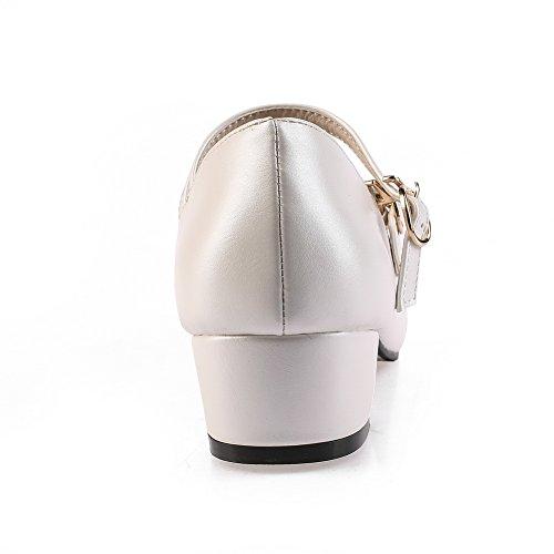 Balamasa Donna Fibbie In Metallo Tacco Quadrato Scarpe In Uretano A Punta Quadrata Bianco