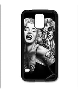 Samsung Galaxy S5 SV Black Rubber Silicone Case - Marilyn Monroe Day of the Dead Sugar Skull Tattoos Dia de Los Muertos