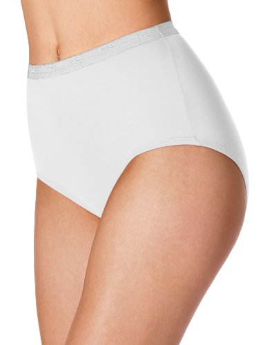 Bali Women`s Set of 6 Full-Cut-Fit Stretch Cotton Brief - Best-Seller! 8, White (Underwear Stretch Set Cotton)