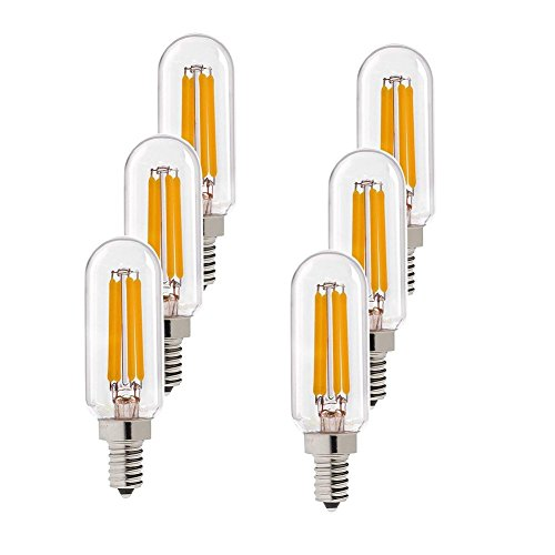 Century Light - 4W Edison LED Filament Tubular Bulb, 2700K Warm White 400LM, Candelabra (E12) Base Light Bulb,T6 (T25) Short Tube Shape, 40 Watt Equivalent, Not-Dimmable, UL-Listed (6-Pack)
