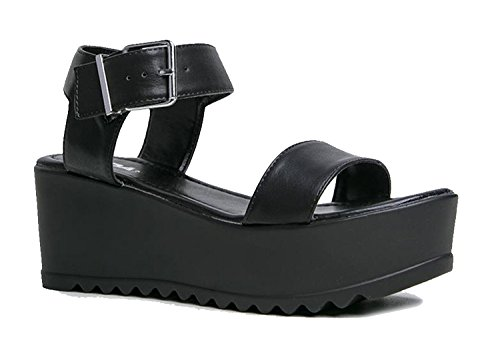 Soda Surf Buckle Sandal, Black PU, 9 B(M) US (Platform Shoe Womens)