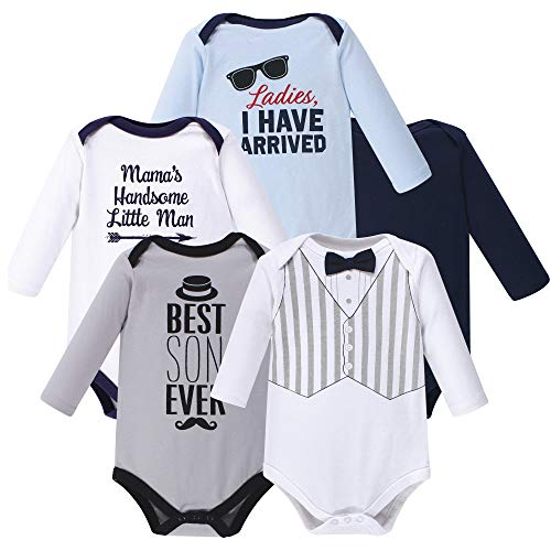 Hudson Baby Unisex Baby Long Sleeve Cotton Bodysuits, Handsome Little Man Long Sleeve 5 Pack, 0-3 Months (3M)
