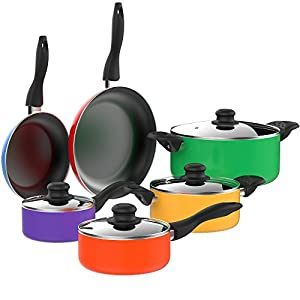 Vremi 15 Piece Nonstick Cookware Set - Kitchen Pots and Pans and Cooking Utensil - Sets of 4 Non Stick Stock or Sauce Pot and 2 Frying Pan for Camping - Yellow Blue Red Purple Green Orange - Oven Safe