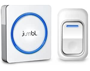Jumbl HIP-DA01 Portable Wireless Battery-Operated Door Chime and Push Button with LED indicators – Both the Transmitter and Receiver are battery operated - 48 Different Chimes