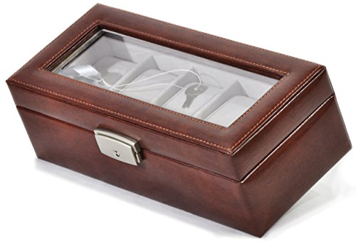 Royce Leather Aristo Bonded 5 Slot Watch Box - Aristo British - Bonded British Tan Leather