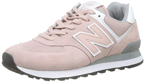 New Balance Womens 574 Core, Pink (Charm/Steel UNC), 7 (40.5 - Pink Charms Shoe