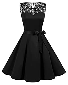 Bbonlinedress Women's 1950s Vintage Rockabilly Swing Dress Lace Cocktail Prom Party Dress