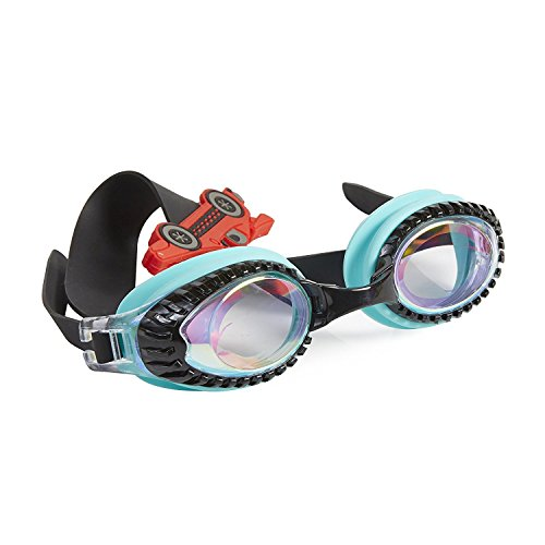 Swimming Goggles For Boys - Drag Racer Retro Teal Swim Goggles By Bling2o
