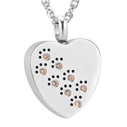 Heart Urn Necklace for Ashes Stianless Steel Crystal Pet Paw Print Cremation Ashes Keepsake Memorial Urn Jewelry for Ashes