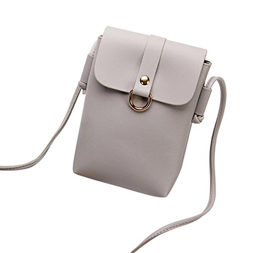 Wallet Small Bag Magnetic Closure Leather Party Travel Snap Cross Message Fashion Cellphone Crossbody Grey Gift Single Purse Faux Bag with Bag Body Handbag Women Mini Shoulder AaBFRA