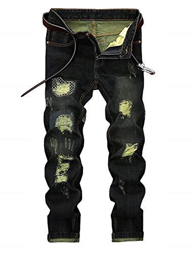 Fit Pantaloni Strappati Slim Nero Giovane Uomo Elasticizzati Vintage Denim Da arZ57qHrw0