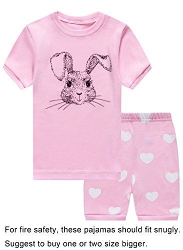 Choco Moon Little Girls Rabbit Easter Snug-Fit Pajamas Short Sets 100% Cotton Pink PJS Clothes Infant Kid (Rabbit Moon Baby Girl)