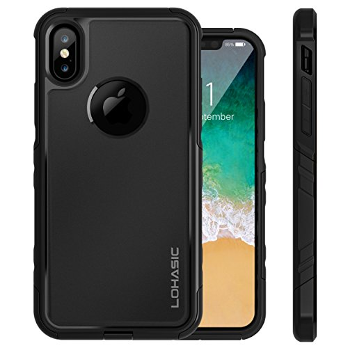 iPhone X Case, Heavy Duty Drop Proof Dual Layer Protective 360 Full Body Shockproof Flexible Tpu Hard PC Back Hybrid Defender 2 in 1 Cute Slim Cover Armor for Apple iPhone X / 10 - Black