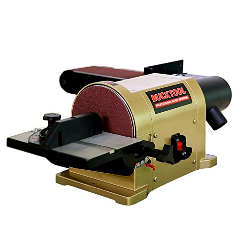 BUCKTOOL BD4603 Belt Disc Sander 4 in. x 36 in. Belt and 6 in. Disc Sander Benchtop with 3 4HP Direct-drive Motor and Portable Al Base