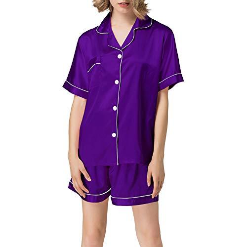 (NANJUN Women's Satin Pajamas Sleepwear Short Button-Down Pj Set(Purple,xs))