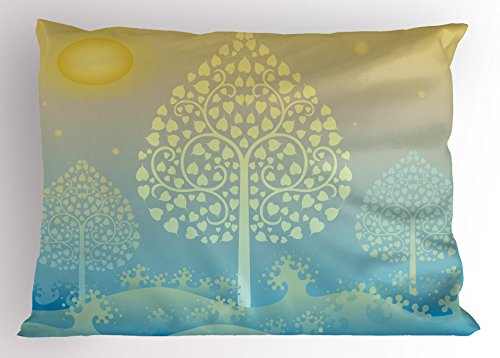 Ambesonne Art Pillow Sham, Thai Pattern Design Illustration of Gold Tree Oriental Culture Asia Eastern Ways, Decorative Standard Queen Size Printed Pillowcase, 30 X 20 Inches, Gold Sky Blue by Ambesonne
