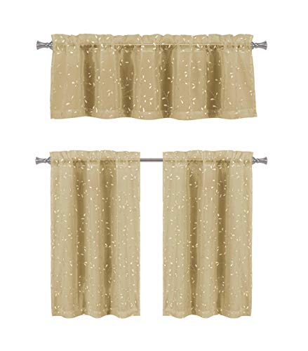 Bathroom and More Collection Taupe 3-Piece Sheer Window Curtain Set: 1 Valance, 2 Café/Tiers, Gold Raised Metallic Small Leaf Design (24