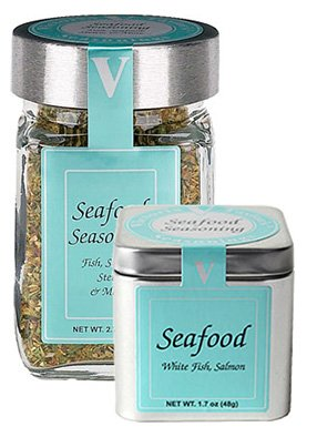 Sage Bell (Seafood Seasoning - 2.7 oz Jar - All Natural Spices and Vegetables - Victoria Gourmet - Chives, thyme, oregano, lemon, onion, sage, parsley and red bell pepper & more combined to make the perfect seasoned piece of fish; salt free.)