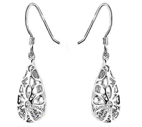 Vintage Tear Drop Dangle Earrings for Women, 925 Sterling Silver 5A Zirconia, Mother's Day Gift for Women