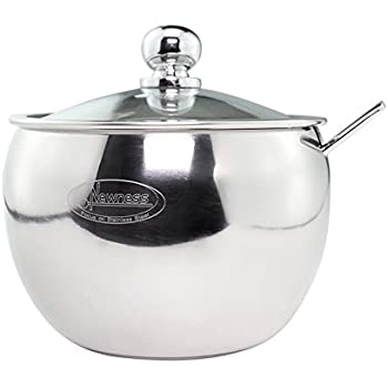 Perfect Newness Stainless Steel Sugar Bowl With Clear Lid(for Better Recognition)  And Sugar Spoon