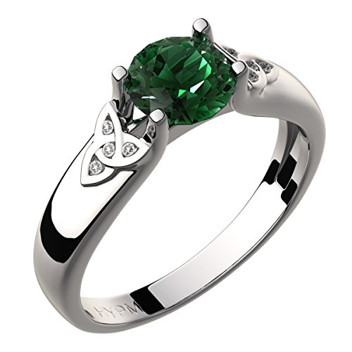 GWG Sterling Silver Celtic Ring for Women Emerald Green Zircon Stone and Trinity Knots Adorned with Crystals – - Ring Celtic Trinity