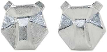 NOVICA .925 Sterling Silver Stud Earrings 'Geometric Bears'