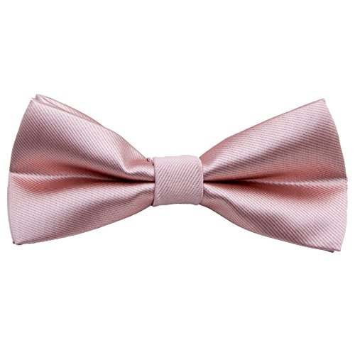 Men's Pre Tied Bow Ties for Wedding Party Fancy Plain Adjustable Bowties Necktie (Silk-Naked Pink) ()