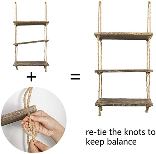 TIMEYARD Decorative Wall Hanging Shelf, 3 Tier Distressed Wood Jute Rope Floating Shelves, Rustic Home Wall Decor 7