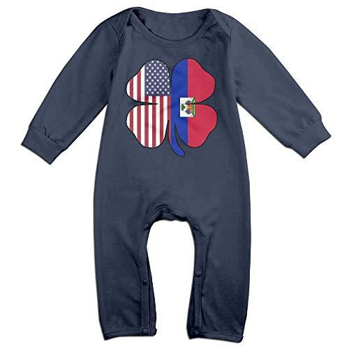 - Newborn Toddler Baby Cartoon American Haitian Shamrock Shape Custom Bodysuit Outfits Clothes