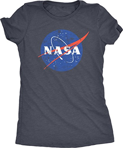 NASA Space Program Distressed Meatball Logo Women's Tri-Blend T-Shirt (Navy Frost, Medium)