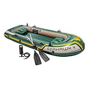 Intex Seahawk 4, 4-Person Inflatable Boat Set with Aluminum Oars and High Output Air Pump (Latest Model)