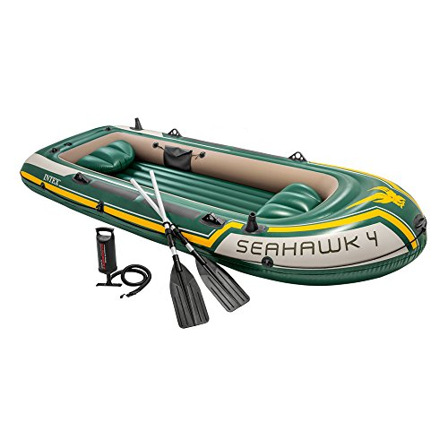 Intex Seahawk 4, 4-Person Inflatable Boat Set with Aluminum Oars and High Output Air Pump (Latest Model) (Best Inflatable River Rafts)