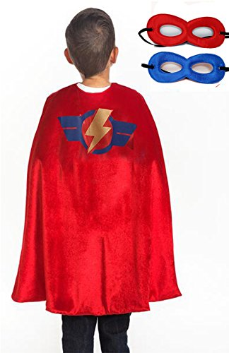 Super Hero Cape & Mask/Accessory Set for Boys - One-Size (3-8 Yrs) (Red)