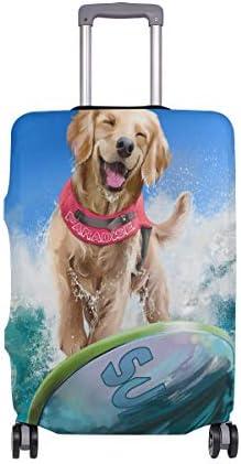 (ソレソレ)スーツケースカバー 防水 伸縮素材 キャリーカバー ラゲッジカバー いぬ 犬柄 海 ブルー かわいい 可愛い 可愛い おしゃれ 防塵 旅行 出張 便利 S M L XLサイズ