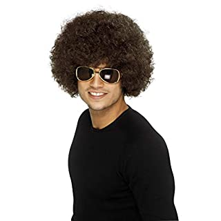Smiffys Men's One Size 70s Funky Afro Wig, Brown