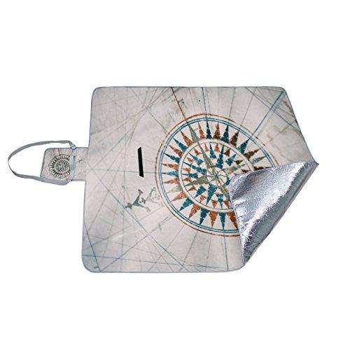 coosun Old Vintage Nautische Karte und Kompass Picknickdecke Tote praktischer Matte Mehltau resistent und wasserfest Camping Matte für Picknicks, Strände, Wandern, Reisen, Rving und Ausflüge