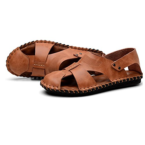 traspiranti Walking Brown Outdoor Summer da in pescatore uomo EU spiaggia Size Sandali Color 41 Walking da Brown pelle 3 Sandali sportivi Sandali da 1 AwvYnTqX7x