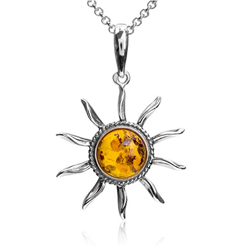 Ian and Valeri Co. Amber Sterling Silver Sun Pendant Necklace Chain 18